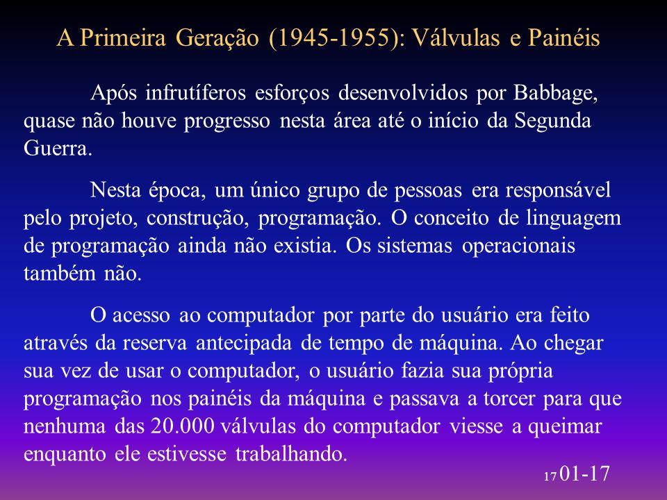17 01-17 A Primeira Geração (1945-1955): Válvulas e Painéis Após infrutíferos esforços desenvolvidos por Babbage, quase não houve progresso nesta área