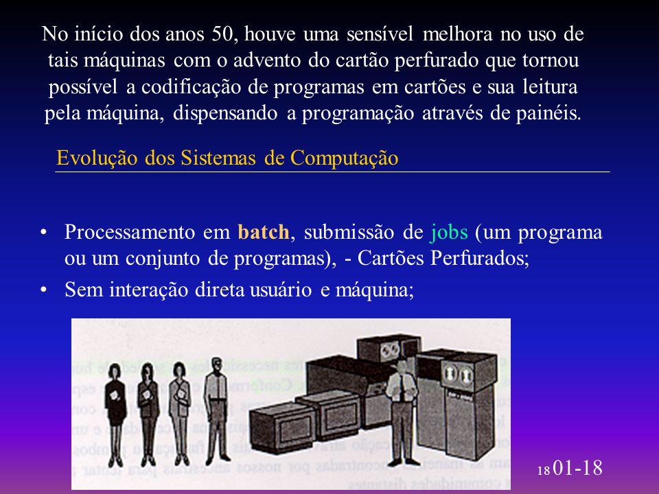 18 01-18 No início dos anos 50, houve uma sensível melhora no uso de tais máquinas com o advento do cartão perfurado que tornou possível a codificação