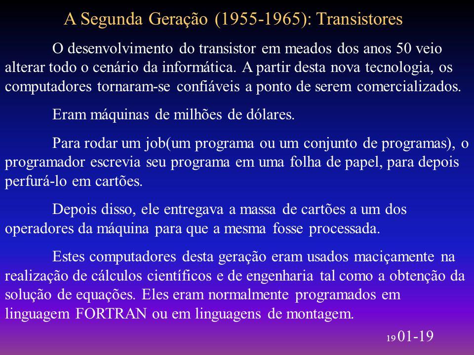 19 01-19 A Segunda Geração (1955-1965): Transistores O desenvolvimento do transistor em meados dos anos 50 veio alterar todo o cenário da informática.
