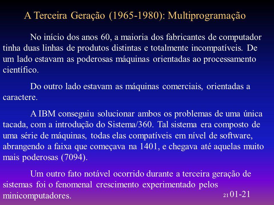 21 01-21 A Terceira Geração (1965-1980): Multiprogramação No início dos anos 60, a maioria dos fabricantes de computador tinha duas linhas de produtos