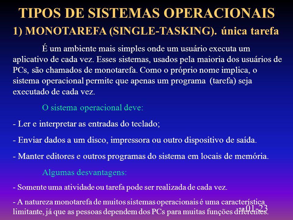 23 01-23 TIPOS DE SISTEMAS OPERACIONAIS 1) MONOTAREFA (SINGLE-TASKING). única tarefa É um ambiente mais simples onde um usuário executa um aplicativo
