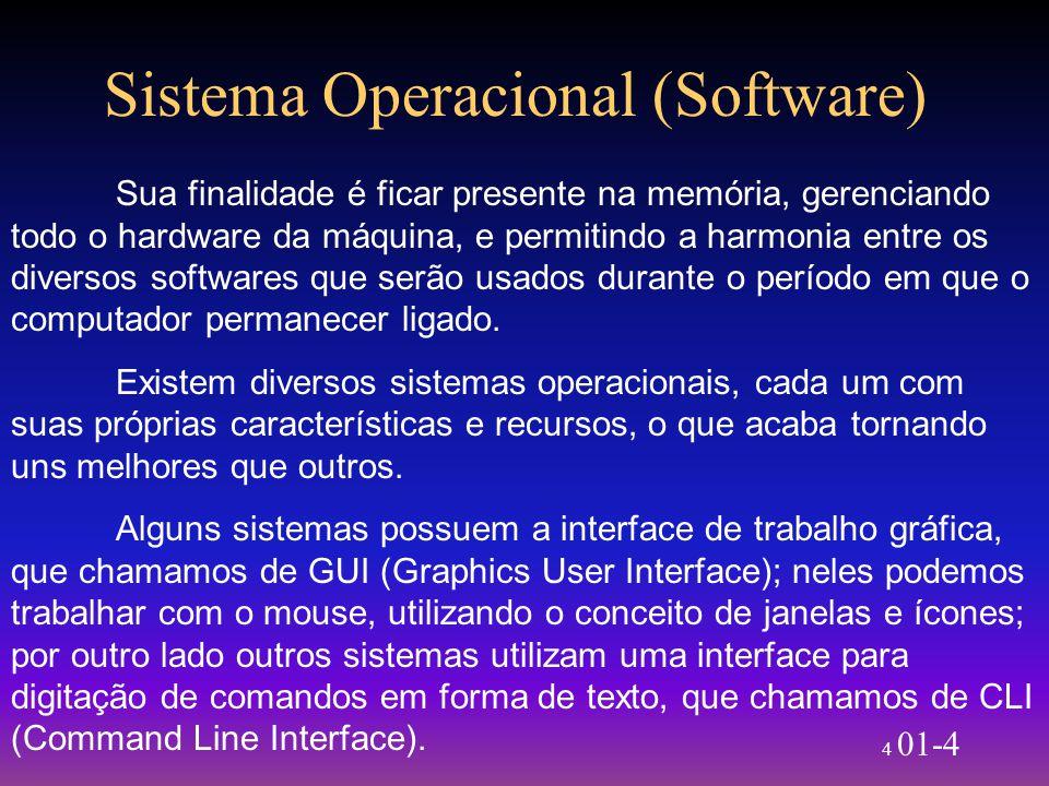 4 01-4 Sistema Operacional (Software) Sua finalidade é ficar presente na memória, gerenciando todo o hardware da máquina, e permitindo a harmonia entr