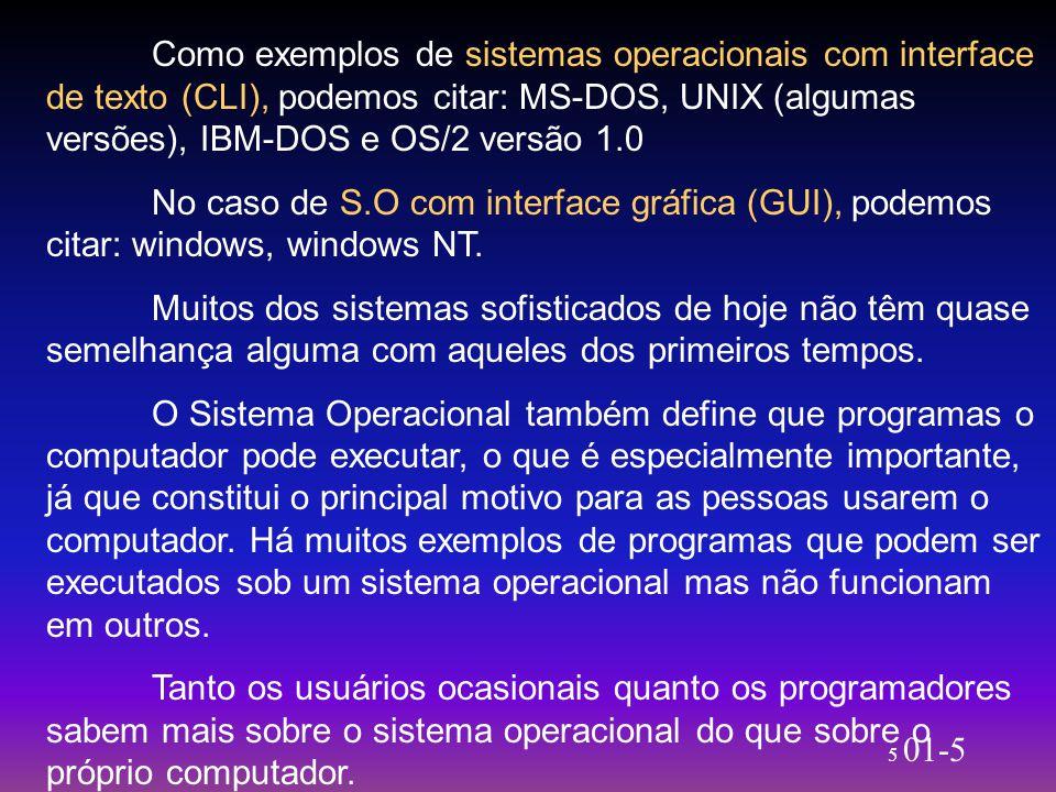 5 01-5 Como exemplos de sistemas operacionais com interface de texto (CLI), podemos citar: MS-DOS, UNIX (algumas versões), IBM-DOS e OS/2 versão 1.0 N