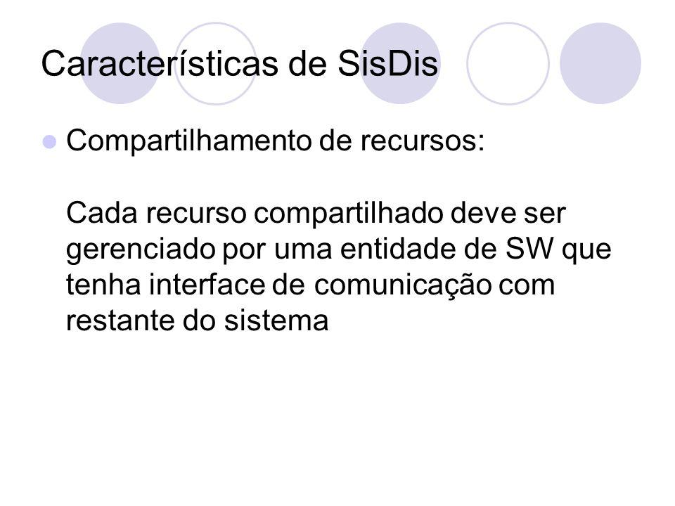Características de SisDis Compartilhamento de recursos: Cada recurso compartilhado deve ser gerenciado por uma entidade de SW que tenha interface de comunicação com restante do sistema