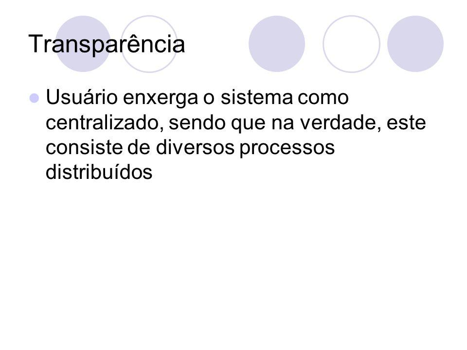 Transparência Usuário enxerga o sistema como centralizado, sendo que na verdade, este consiste de diversos processos distribuídos