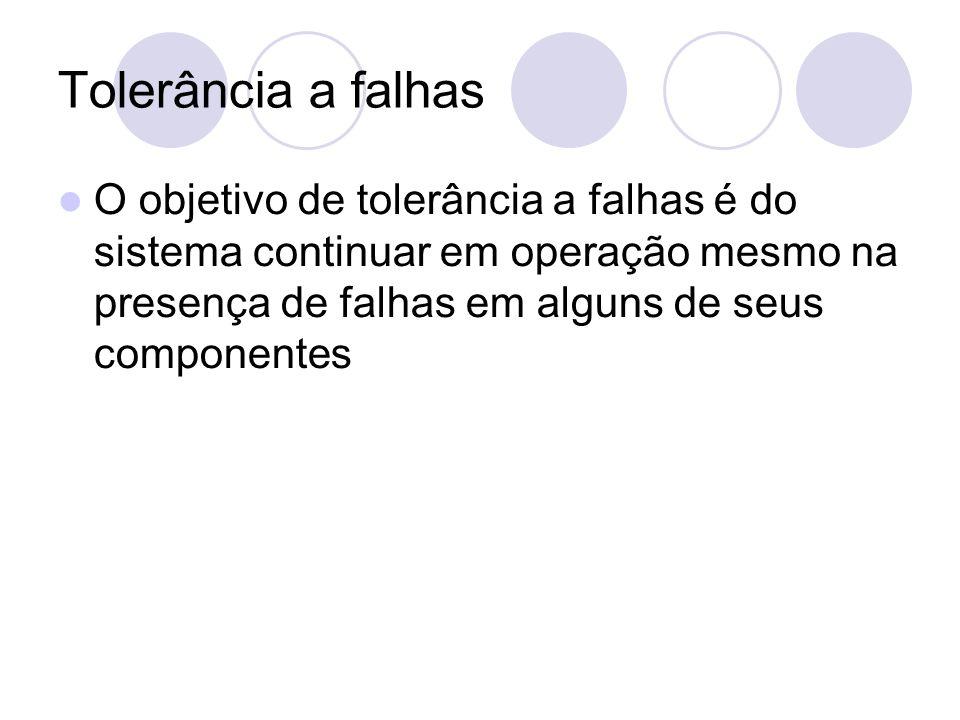 Tolerância a falhas O objetivo de tolerância a falhas é do sistema continuar em operação mesmo na presença de falhas em alguns de seus componentes
