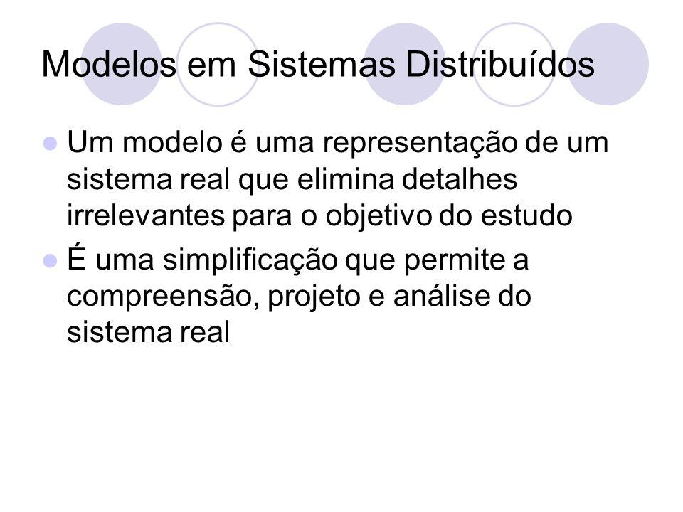 Modelos em Sistemas Distribuídos Um modelo é uma representação de um sistema real que elimina detalhes irrelevantes para o objetivo do estudo É uma simplificação que permite a compreensão, projeto e análise do sistema real
