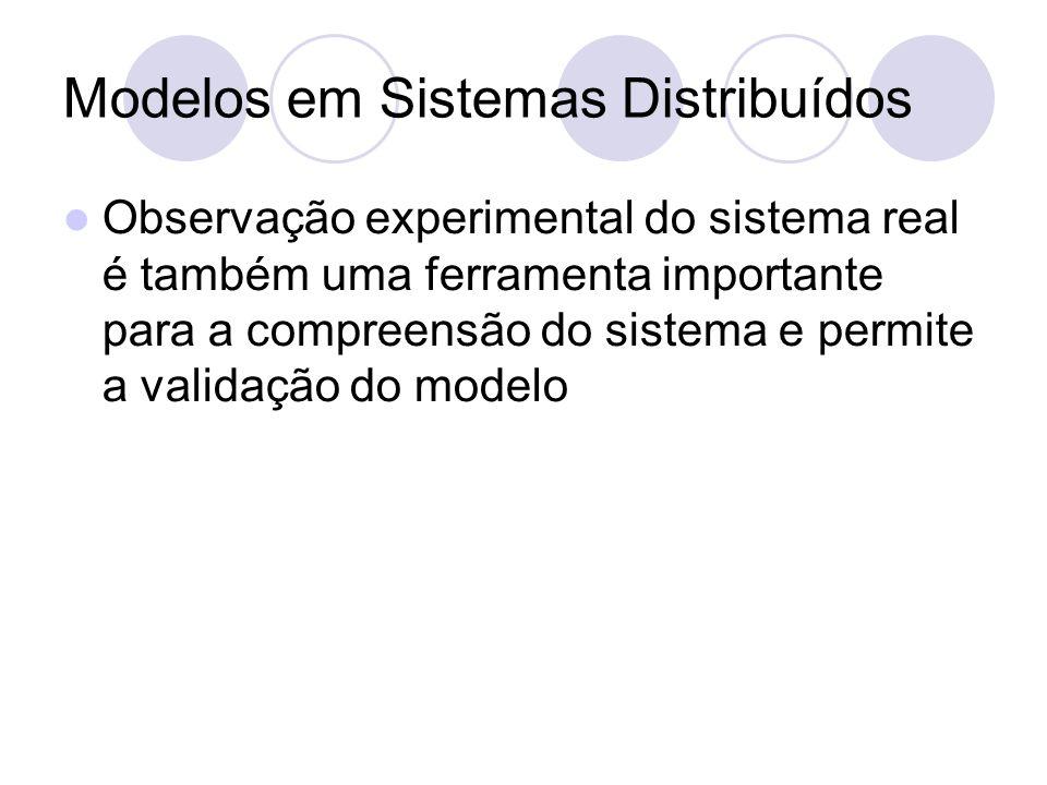 Modelos em Sistemas Distribuídos Observação experimental do sistema real é também uma ferramenta importante para a compreensão do sistema e permite a validação do modelo
