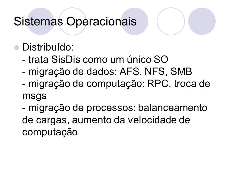 Sistemas Operacionais Distribuído: - trata SisDis como um único SO - migração de dados: AFS, NFS, SMB - migração de computação: RPC, troca de msgs - migração de processos: balanceamento de cargas, aumento da velocidade de computação