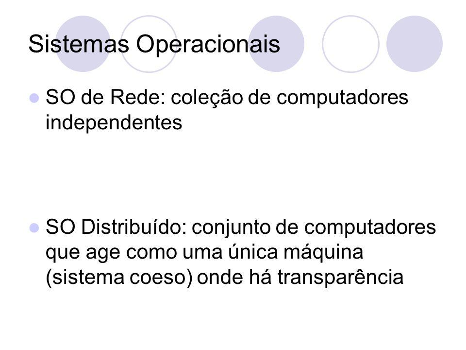 Sistemas Operacionais SO de Rede: coleção de computadores independentes SO Distribuído: conjunto de computadores que age como uma única máquina (sistema coeso) onde há transparência