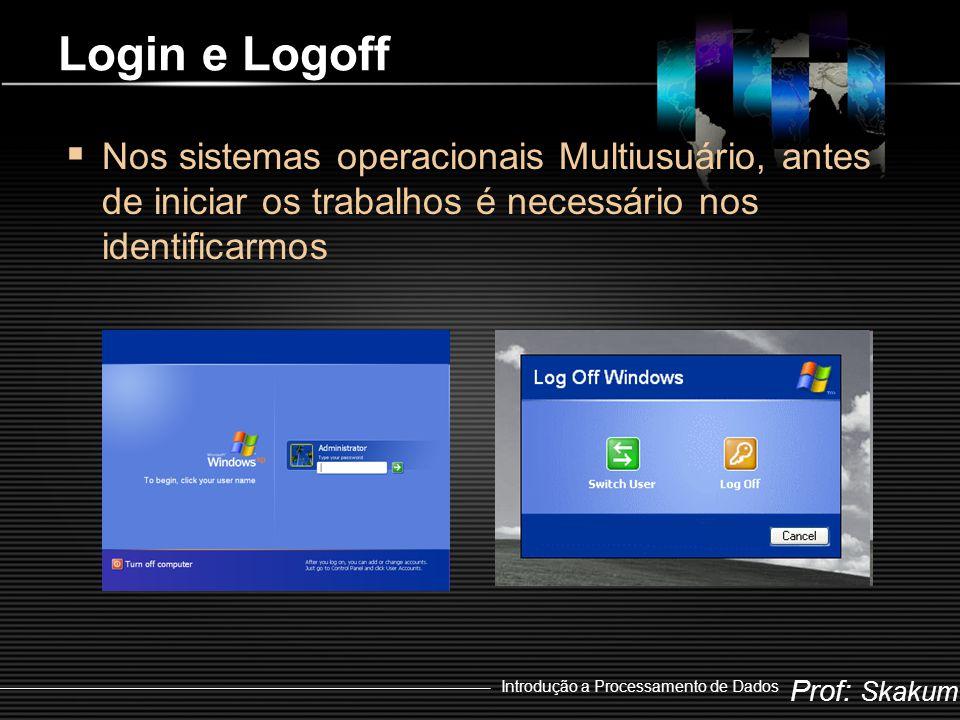 Prof: Skakum Introdução a Processamento de Dados Login e Logoff  Nos sistemas operacionais Multiusuário, antes de iniciar os trabalhos é necessário nos identificarmos