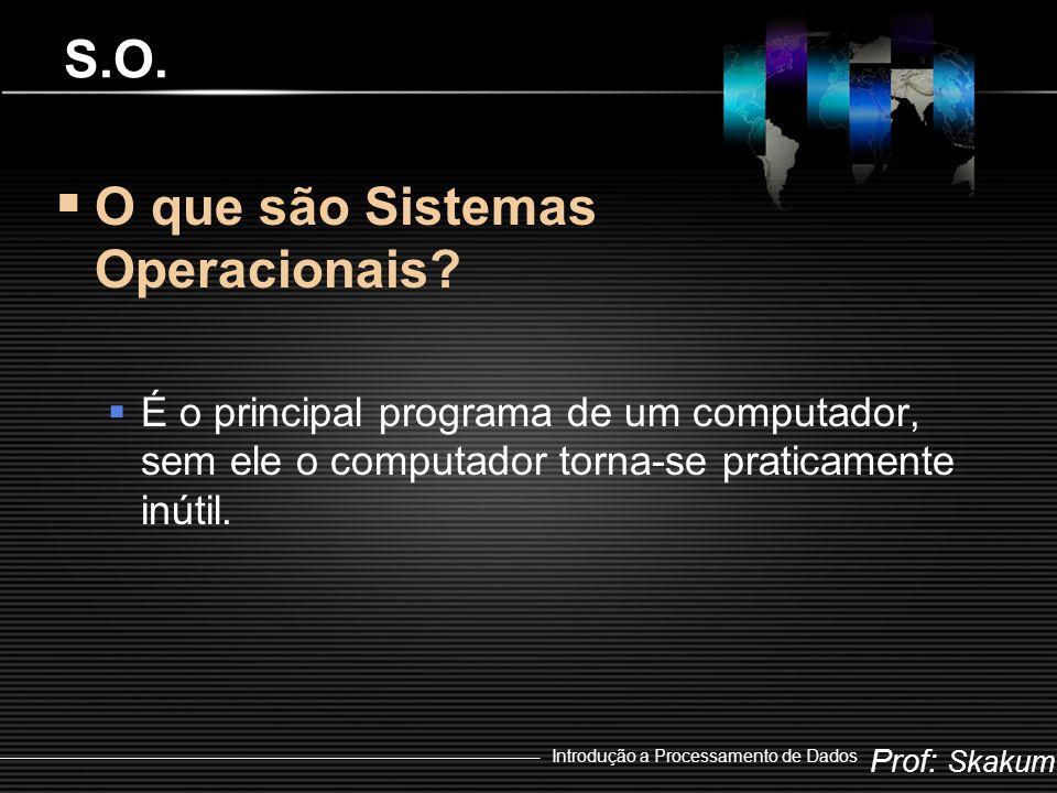 Prof: Skakum Introdução a Processamento de Dados Multiusuário e Monousuário  São as duas principais classificações dos Sistemas Operacionais  Monousuário  Permite que tenha um único usuário conectado ao sistema  Multiusuário  Permite que diversos usuários utilizem simultaneamente os recursos do computador