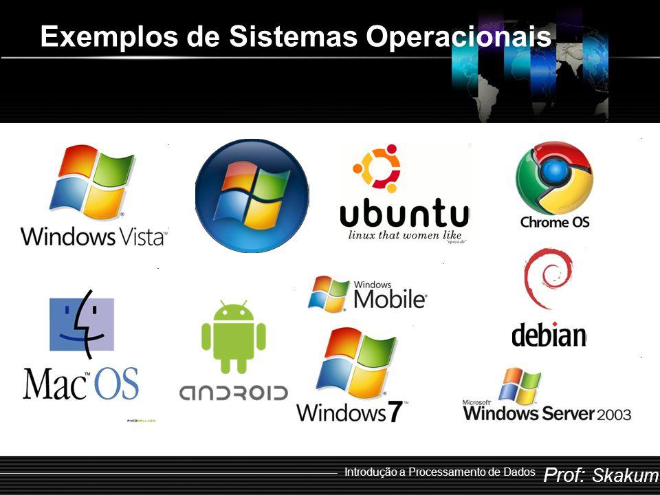 Prof: Skakum Introdução a Processamento de Dados Exemplos de Sistemas Operacionais