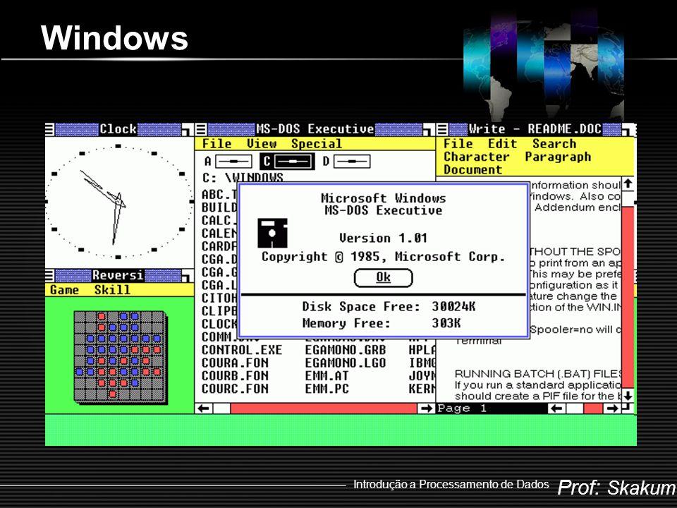 Prof: Skakum Introdução a Processamento de Dados As Versões do Windows  Windows 1.0x  1985  Windows 2.xx  1987  Windows 3.xx  1990  Windows NT  1993  Windows 95  1995  Windows 98  1998  Windows 2000  2000  Windows Me  2000  Windows XP  2001  Windows Vista  2007