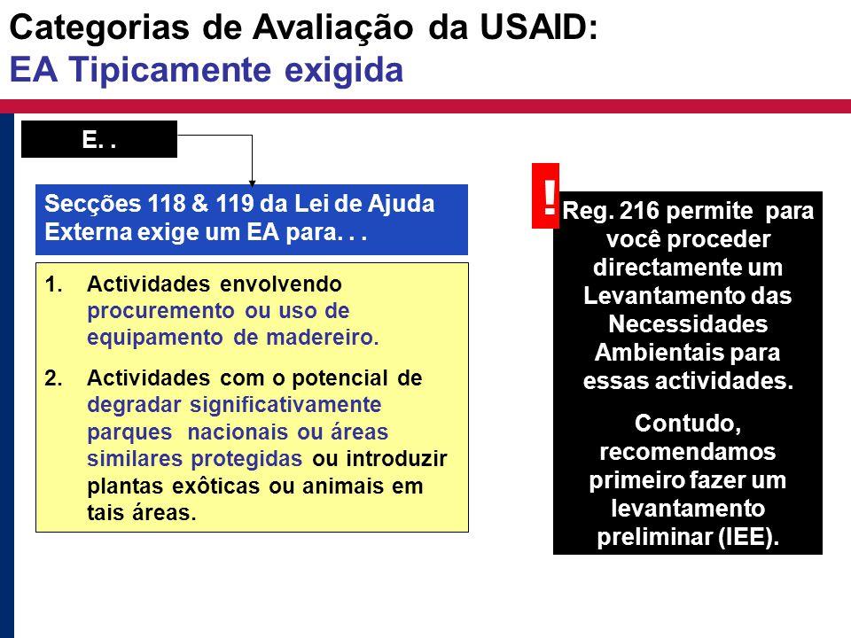 Categorias de Avaliação da USAID: EA Tipicamente exigida 1.Actividades envolvendo procuremento ou uso de equipamento de madereiro. 2.Actividades com o