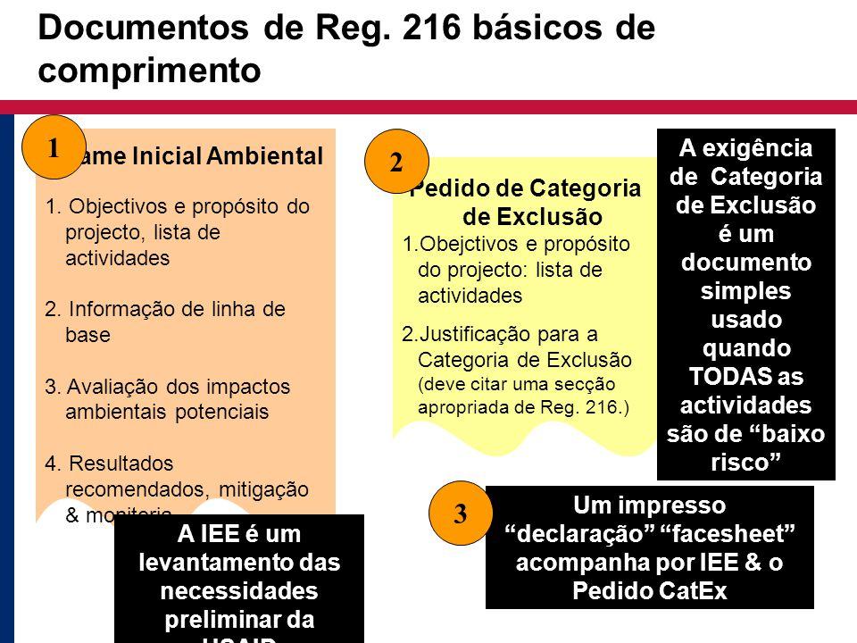 Documentos de Reg. 216 básicos de comprimento Exame Inicial Ambiental 1. Objectivos e propósito do projecto, lista de actividades 2. Informação de lin