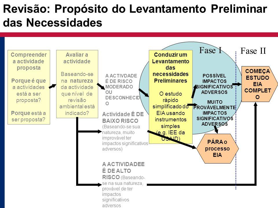 Revisão: Propósito do Levantamento Preliminar das Necessidades Avaliar a actividade Baseando-se na natureza da actividade que nível de revisão ambient
