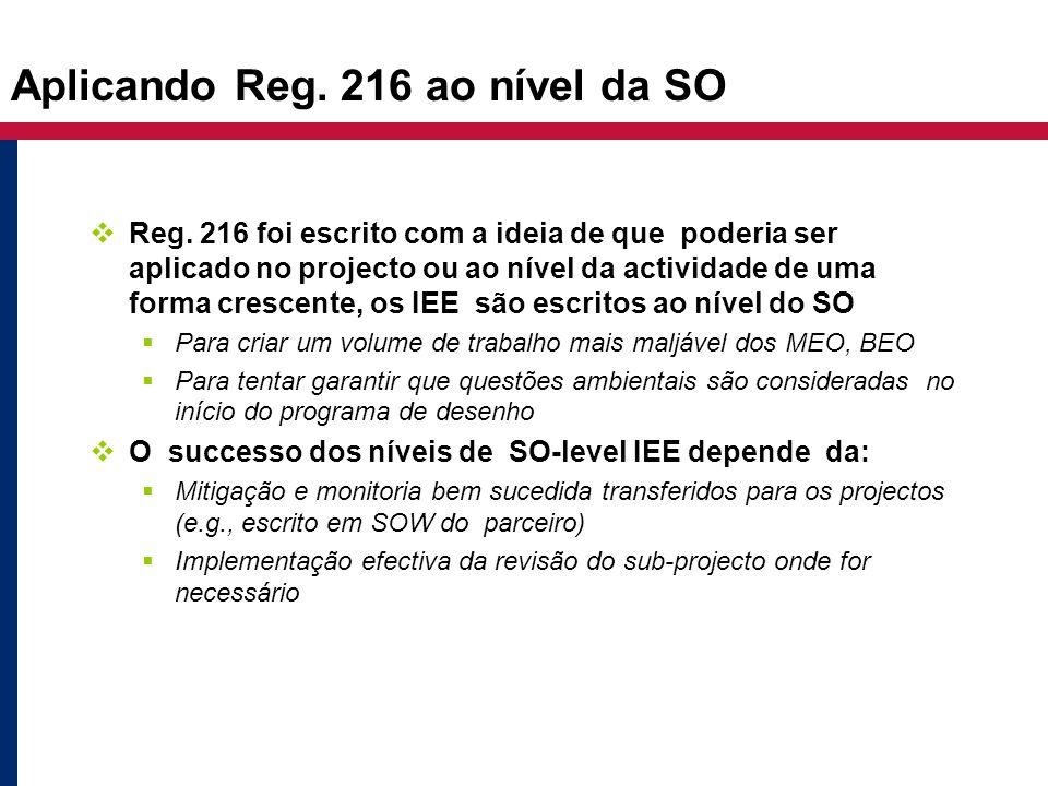 Aplicando Reg. 216 ao nível da SO  Reg. 216 foi escrito com a ideia de que poderia ser aplicado no projecto ou ao nível da actividade de uma forma cr