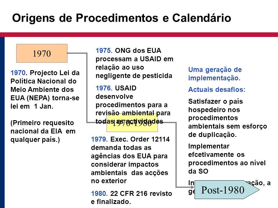 Origens de Procedimentos e Calendário 1970 1970. Projecto Lei da Política Nacional do Meio Ambiente dos EUA (NEPA) torna-se lei em 1 Jan. (Primeiro re