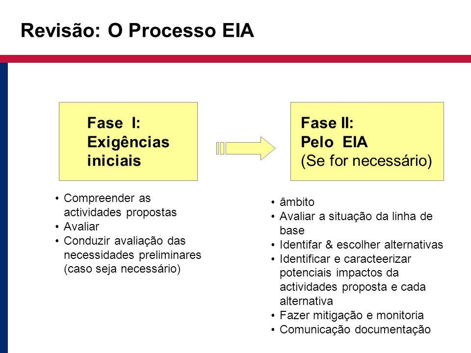 Revisão: O Processo EIA Compreender as actividades propostas Avaliar Conduzir avaliação das necessidades preliminares (caso seja necessário) âmbito Av