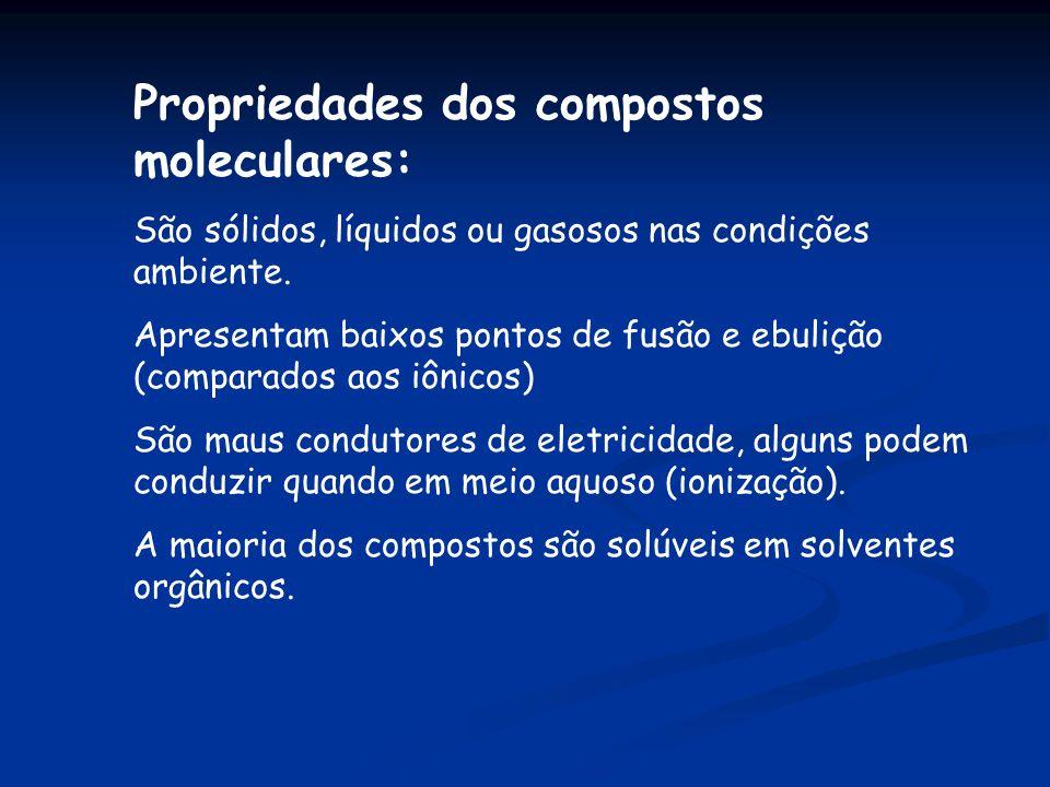 Propriedades dos compostos moleculares: São sólidos, líquidos ou gasosos nas condições ambiente. Apresentam baixos pontos de fusão e ebulição (compara