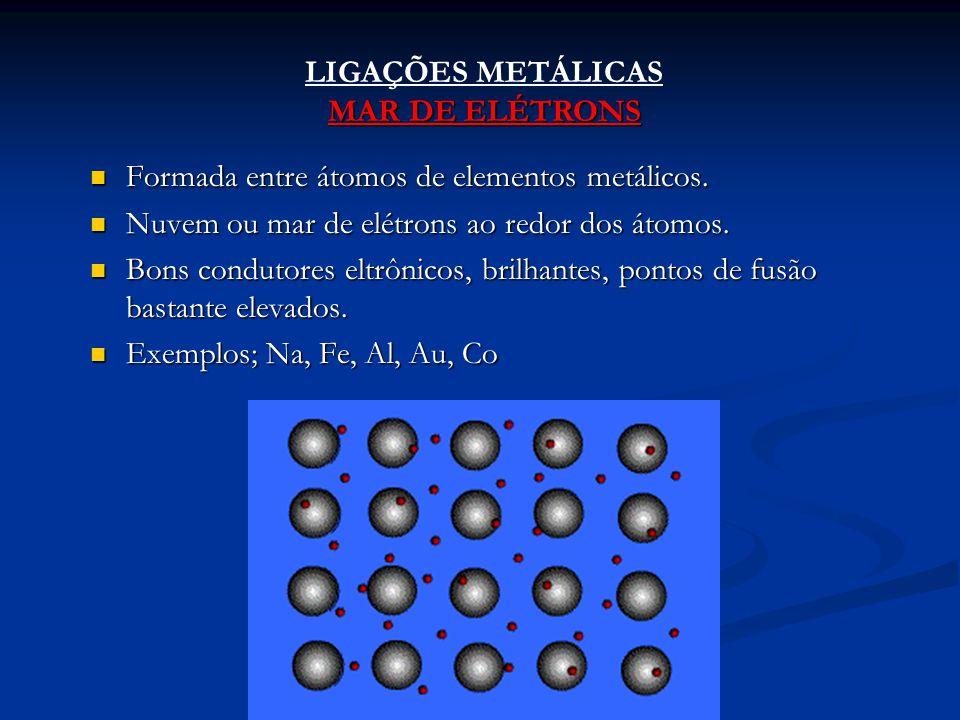LIGAÇÕES METÁLICAS MAR DE ELÉTRONS Formada entre átomos de elementos metálicos. Formada entre átomos de elementos metálicos. Nuvem ou mar de elétrons
