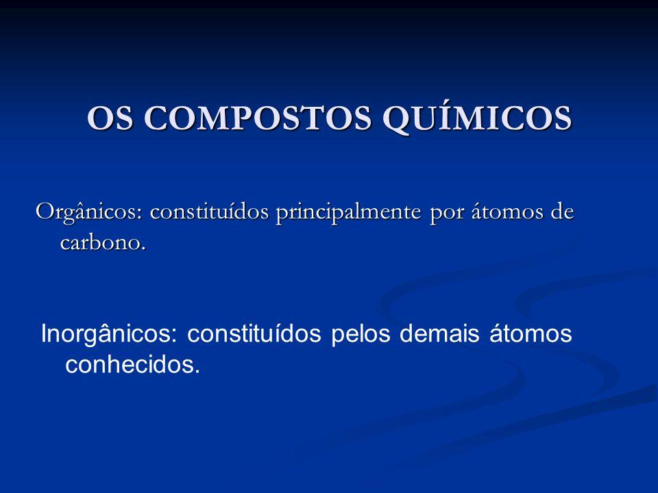 OS COMPOSTOS QUÍMICOS Orgânicos: constituídos principalmente por átomos de carbono. Inorgânicos: constituídos pelos demais átomos conhecidos.