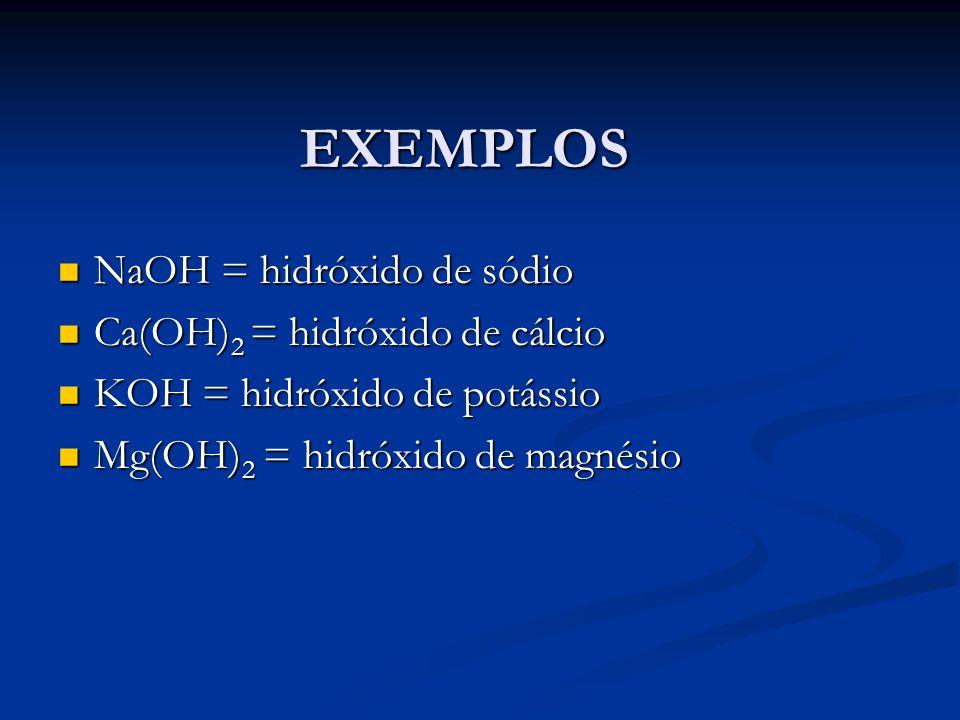 EXEMPLOS NaOH = hidróxido de sódio NaOH = hidróxido de sódio Ca(OH) 2 = hidróxido de cálcio Ca(OH) 2 = hidróxido de cálcio KOH = hidróxido de potássio