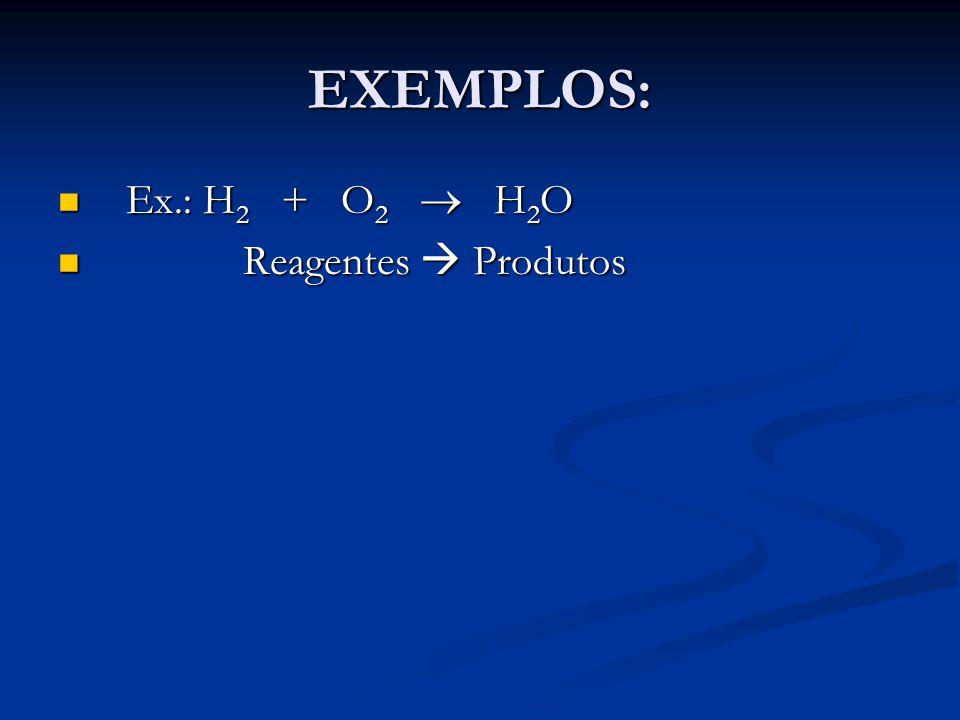 EXEMPLOS: Ex.: H 2 + O 2  H 2 O Ex.: H 2 + O 2  H 2 O Reagentes  Produtos Reagentes  Produtos