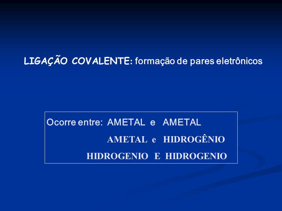LIGAÇÃO COVALENTE : formação de pares eletrônicos Ocorre entre: AMETAL e AMETAL AMETAL e HIDROGÊNIO HIDROGENIO E HIDROGENIO