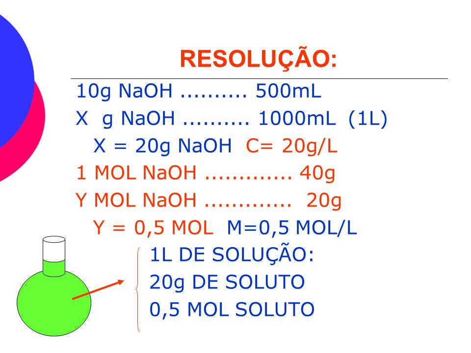 EXEMPLO  EM UM BALÃO DE FUNDO REDONDO FORAM COLOCADOS 10g DE NaOH (40g/MOL) E O VOLUME COMPLETADO COM ÁGUA ATÉ PERFAZER 500mL DE SOLUÇÃO. CALCULE A C