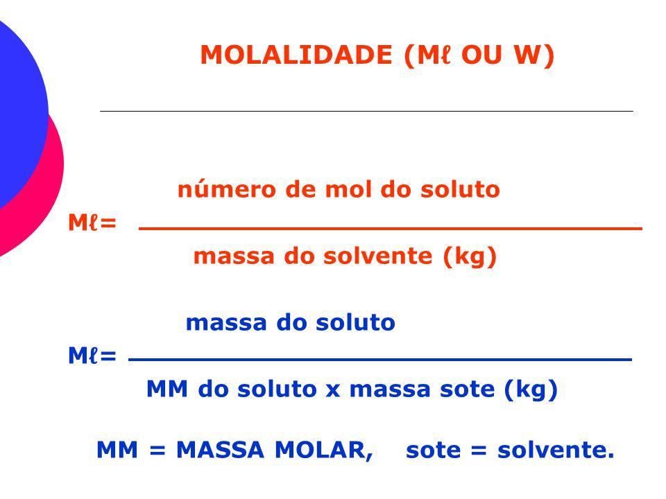 PORCENTAGEM EM MASSA (P) MASSA DO SOLUTO P = X 100 MASSA DA SOLUÇÃO ADICIONAMOS 20g DE NaCℓ EM 100g DE ÁGUA. CALCULE P. 12Og.................... 100%