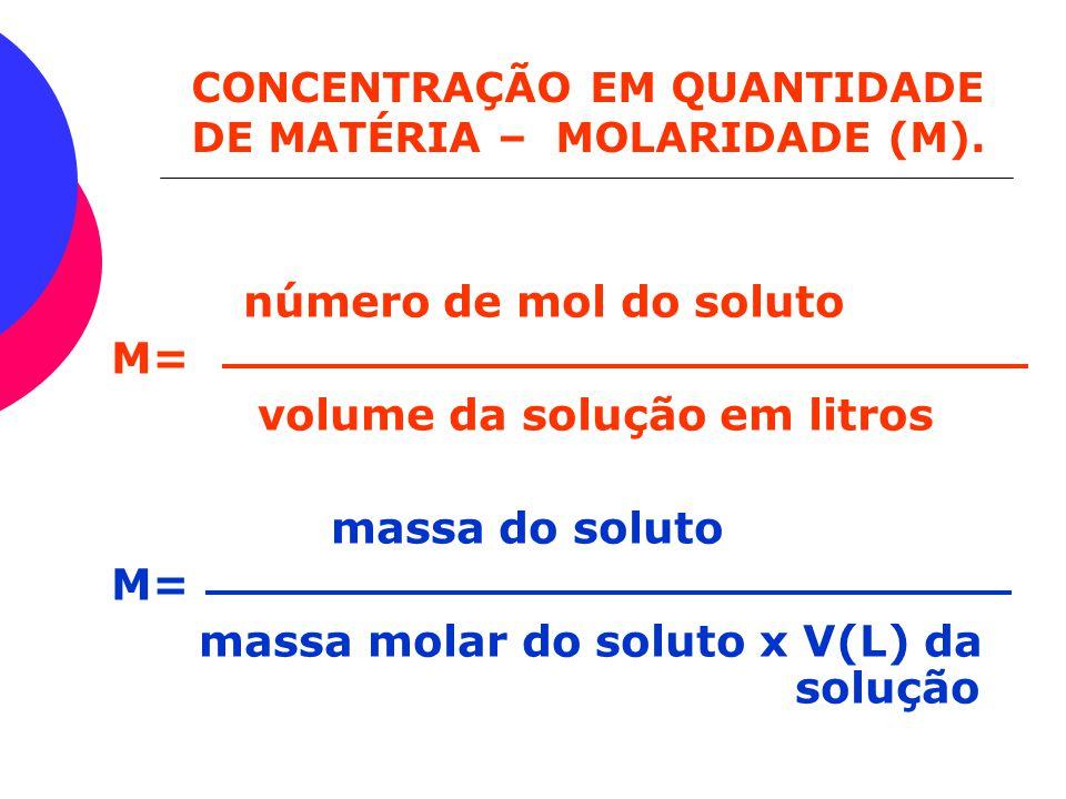Dependendo das unidades de quantidade que usamos, as concentrações terão nomes diferentes. Concentração Comum (C) massa do soluto C = (g/L) volume da