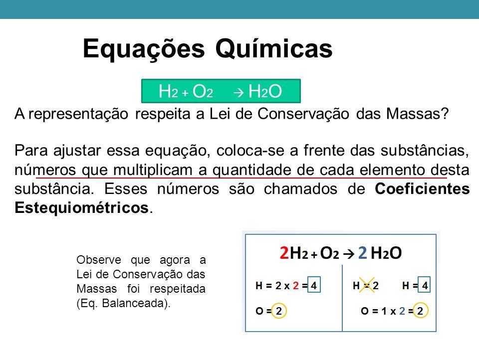 Equações Químicas H 2 + O 2  H 2 O A representação respeita a Lei de Conservação das Massas.