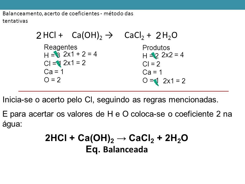 Balanceamento, acerto de coeficientes - método das tentativas HCl + Ca(OH) 2 → CaCl 2 + H 2 O Reagentes H = 3 Cl = 1 Ca = 1 O = 2 Produtos H = 2 Cl = 2 Ca = 1 O = 1 Inicia-se o acerto pelo Cl, seguindo as regras mencionadas.