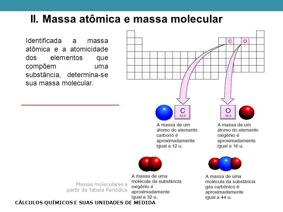 Identificada a massa atômica e a atomicidade dos elementos que compõem uma substância, determina-se sua massa molecular.