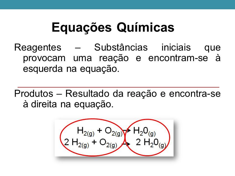 Equações Químicas Reagentes – Substâncias iniciais que provocam uma reação e encontram-se à esquerda na equação.