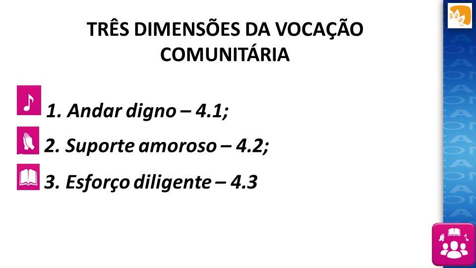 TRÊS DIMENSÕES DA VOCAÇÃO COMUNITÁRIA 1. Andar digno – 4.1; 2. Suporte amoroso – 4.2; 3. Esforço diligente – 4.3