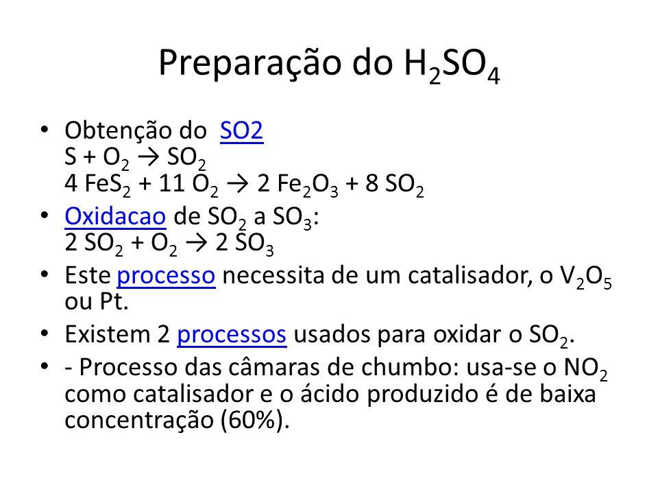 Preparação do H 2 SO 4 Obtenção do SO2 S + O 2 → SO 2 4 FeS 2 + 11 O 2 → 2 Fe 2 O 3 + 8 SO 2SO2 Oxidacao de SO 2 a SO 3 : 2 SO 2 + O 2 → 2 SO 3 Oxidac
