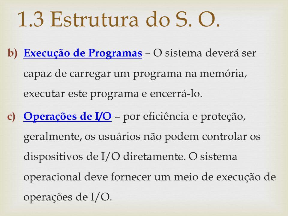 b) Execução de Programas – O sistema deverá ser capaz de carregar um programa na memória, executar este programa e encerrá-lo. c) Operações de I/O – p