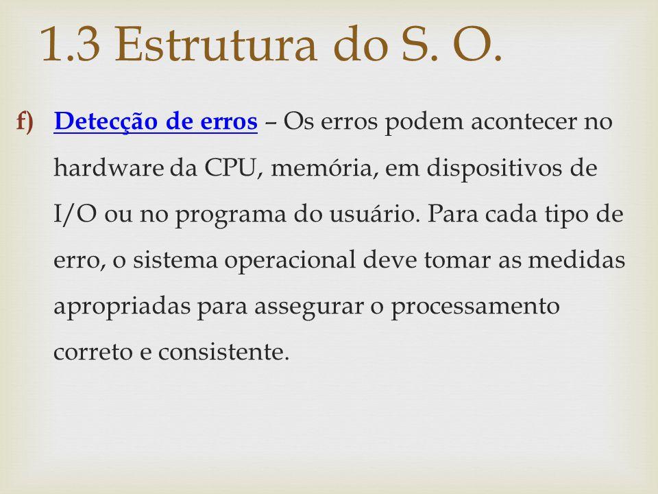 f) Detecção de erros – Os erros podem acontecer no hardware da CPU, memória, em dispositivos de I/O ou no programa do usuário. Para cada tipo de erro,
