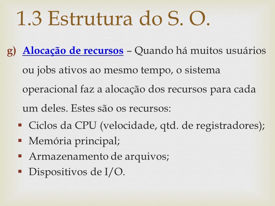 g) Alocação de recursos – Quando há muitos usuários ou jobs ativos ao mesmo tempo, o sistema operacional faz a alocação dos recursos para cada um dele
