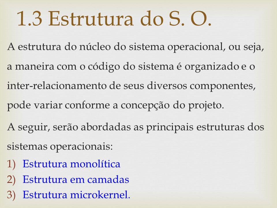 A estrutura do núcleo do sistema operacional, ou seja, a maneira com o código do sistema é organizado e o inter-relacionamento de seus diversos compon