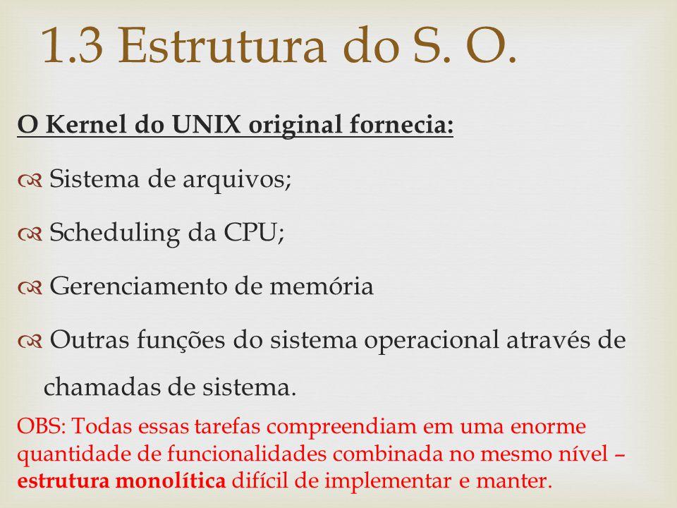 O Kernel do UNIX original fornecia:  Sistema de arquivos;  Scheduling da CPU;  Gerenciamento de memória  Outras funções do sistema operacional atr