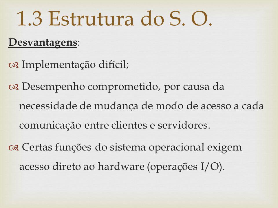1.3 Estrutura do S. O. Desvantagens :  Implementação difícil;  Desempenho comprometido, por causa da necessidade de mudança de modo de acesso a cada
