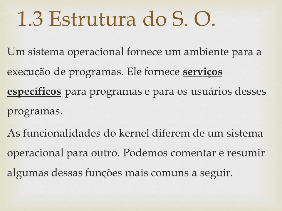 Um sistema operacional fornece um ambiente para a execução de programas. Ele fornece serviços específicos para programas e para os usuários desses pro
