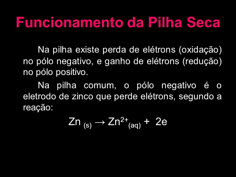 Funcionamento da Pilha Seca Na pilha existe perda de elétrons (oxidação) no pólo negativo, e ganho de elétrons (redução) no pólo positivo. Na pilha co