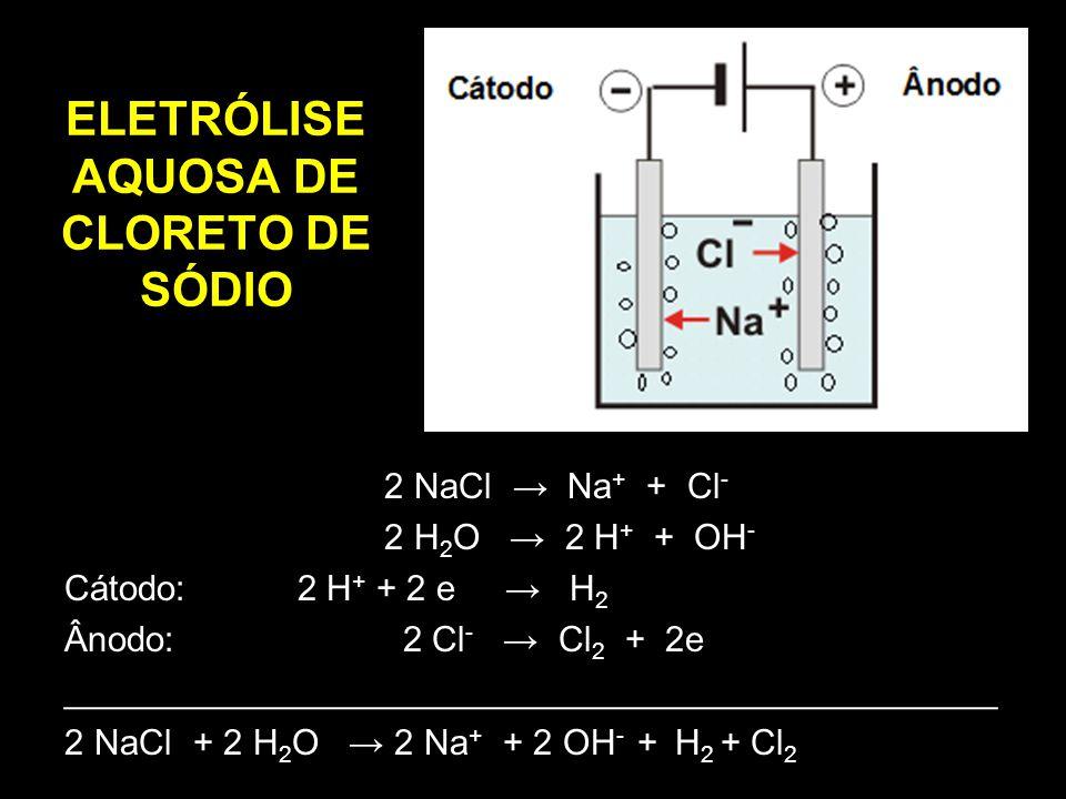 ELETRÓLISE AQUOSA DE CLORETO DE SÓDIO 2 NaCl → Na + + Cl - 2 H 2 O → 2 H + + OH - Cátodo: 2 H + + 2 e → H 2 Ânodo: 2 Cl - → Cl 2 + 2e ________________