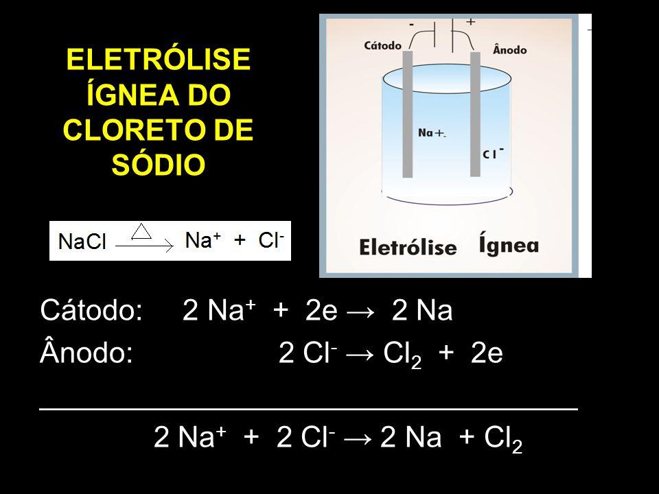 ELETRÓLISE ÍGNEA DO CLORETO DE SÓDIO Cátodo: 2 Na + + 2e → 2 Na Ânodo: 2 Cl - → Cl 2 + 2e _________________________________ 2 Na + + 2 Cl - → 2 Na + C