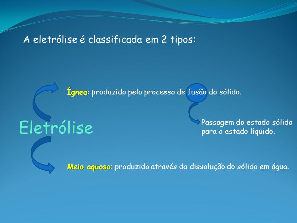Eletrólise A eletrólise é classificada em 2 tipos: Ígnea Ígnea: produzido pelo processo de fusão do sólido. Meio aquoso Meio aquoso: produzido através